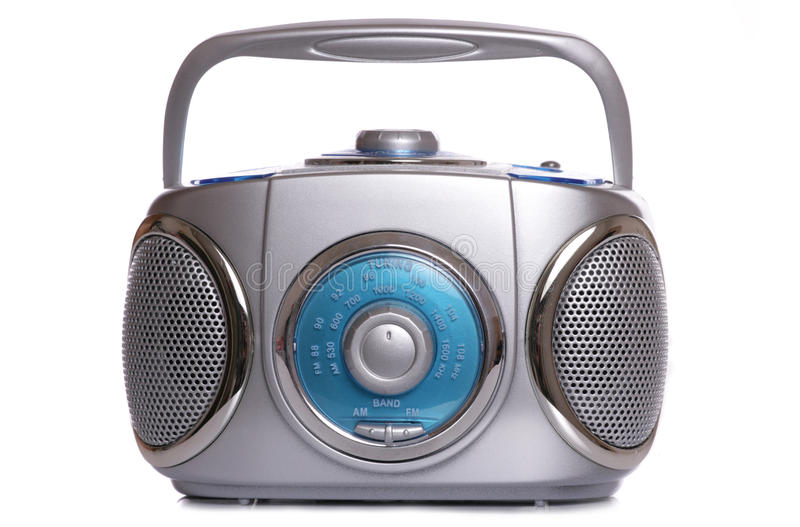 Retro music Radio ghetto blaster. On white background stock image