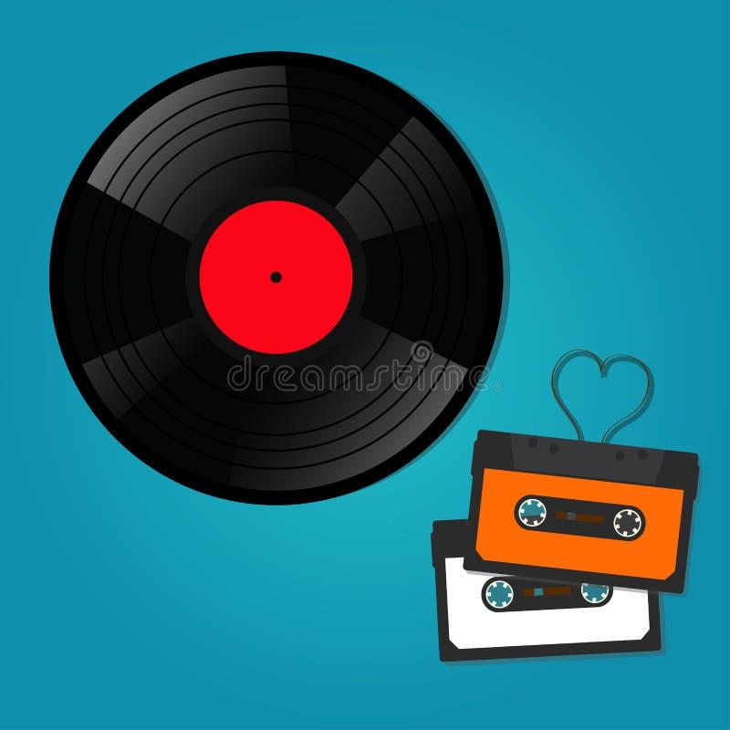 Retro music recordings, audio cassettes, vinyl discs. stock illustration