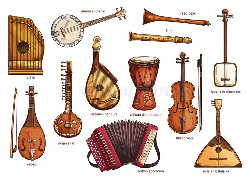 Retro musical instruments set realistic design. Musical instruments set zither and american banjo, reed pipe and flute. Classical music equipment collection stock illustration