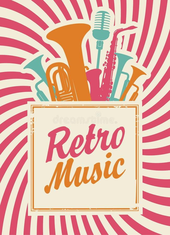 Retro musik vektor illustrationer