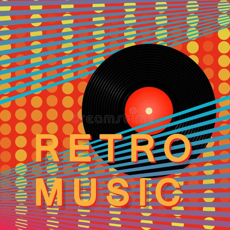 Retro musikaffisch för abstrakt tappning Vinylrekordet Modern affischdesign också vektor för coreldrawillustration royaltyfri illustrationer