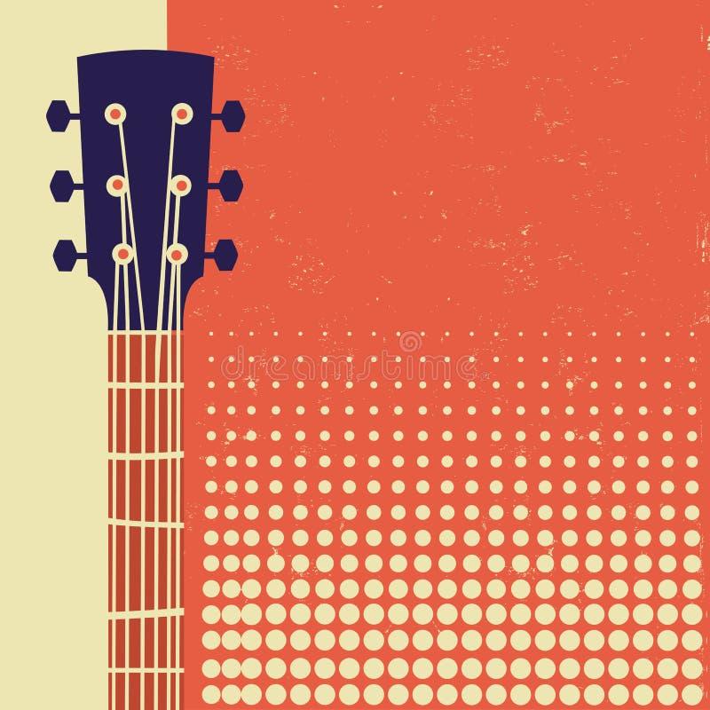 Retro musikaffischbakgrund med den akustiska gitarren på gammalt papper royaltyfri illustrationer