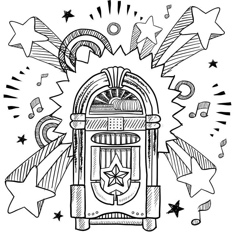 Retro- Musikautomat und Vinyllangspielplatte-Skizze vektor abbildung