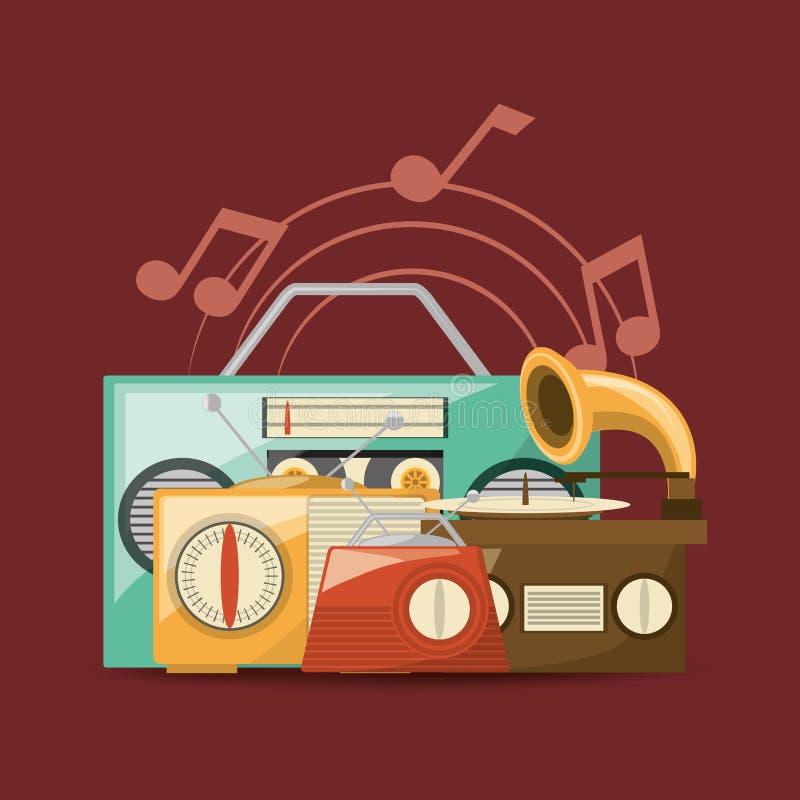 Retro musikdesign vektor illustrationer