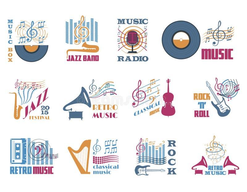 Retro musikemblem vektor illustrationer