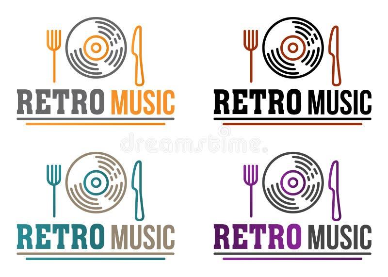 Retro musiklogo f?r id?rik vektor med portionvinylrekordet Begrepp f?r musikst?ng, restaurang, kaf?, meny och n?gra st?llen med m royaltyfri illustrationer