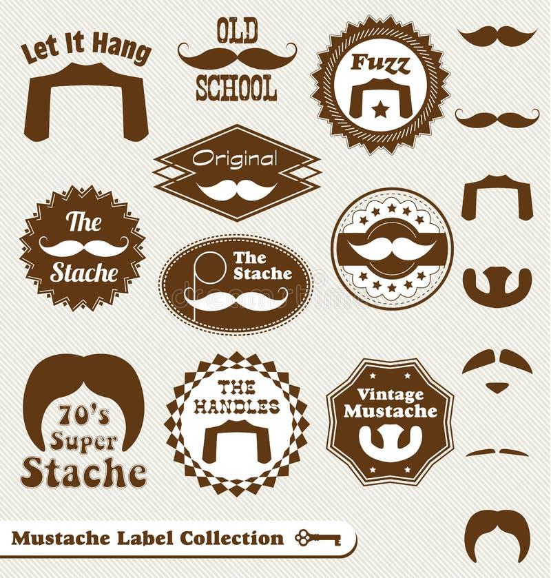 Retro mustaschetiketter och klistermärkear stock illustrationer