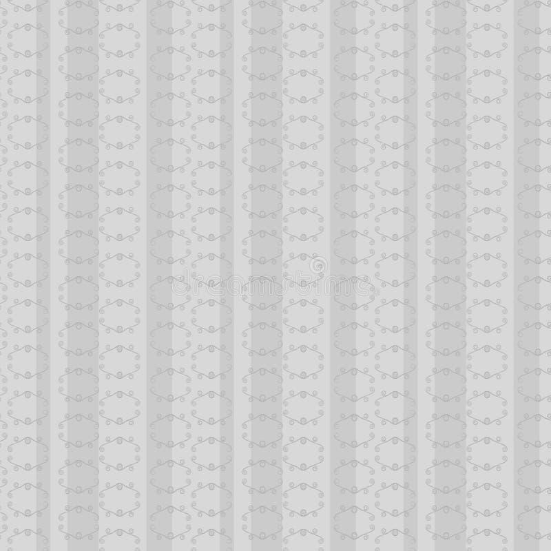 Retro- Muster des einfarbigen grauen nahtlosen Vektors mit Linien von Rauten und von vertikalen Streifen der Locken beleuchten ru vektor abbildung