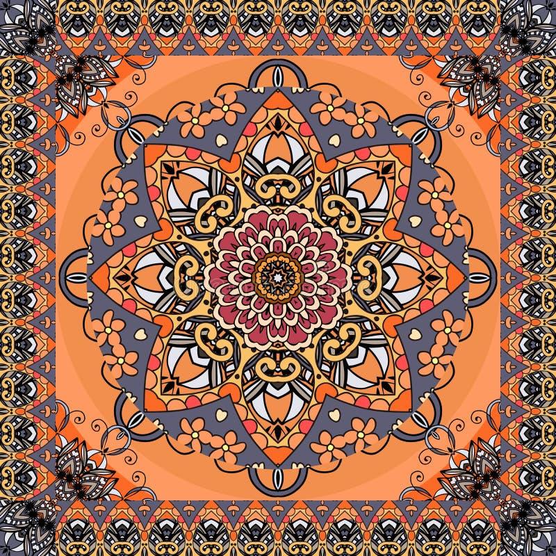 Retro- Muster mit schöner Blumenmandala und Zickzackornamentrahmen auf Leuchtorangehintergrund Nahtloser Druck für Gewebe vektor abbildung