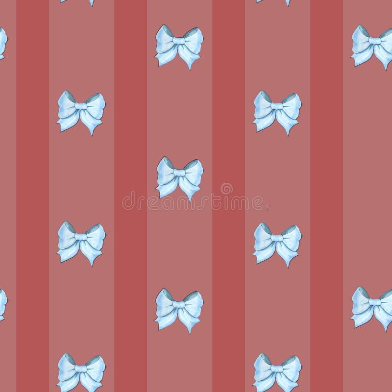 Retro- Muster mit Streifen und blauen Bögen lizenzfreie abbildung