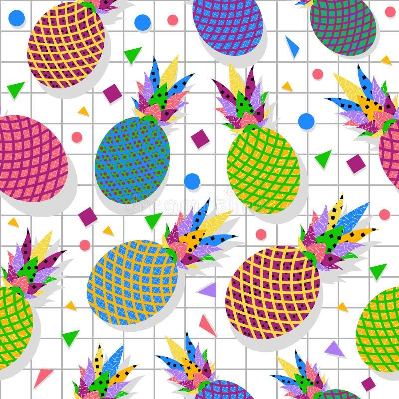 Retro- Musterhintergrund der Weinleseananasfrucht 80s vektor abbildung