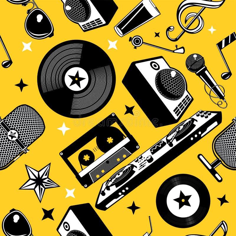 Retro muziek naadloos patroon met vinylschijf en verslag Muzikale achtergrond Partij vectortextuur vector illustratie
