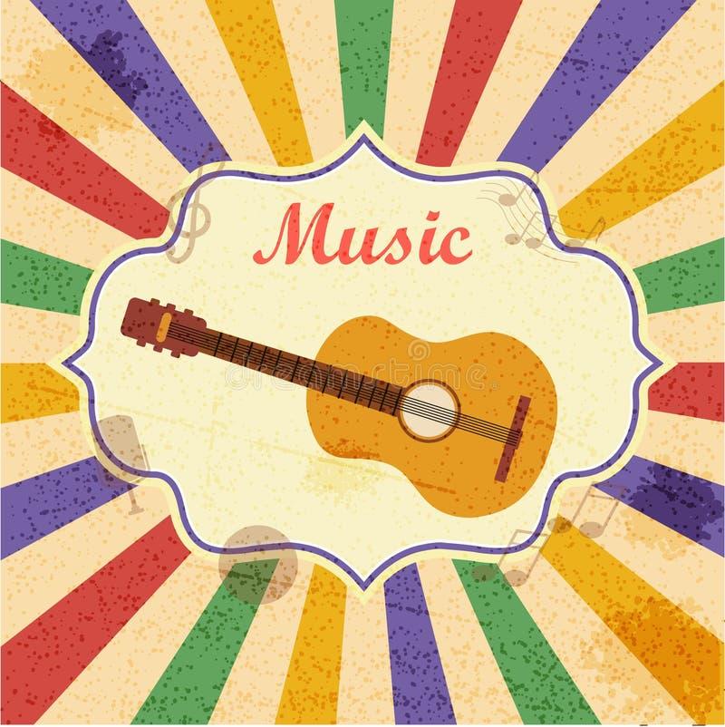 Retro muziekachtergrond met gitaar stock illustratie