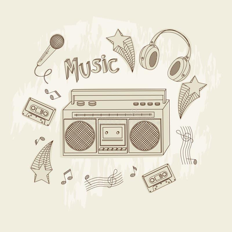 Retro muziekapparatuur. vector illustratie