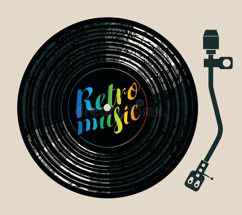 Retro muzyczny plakat z winylowym rejestrem i turntable royalty ilustracja