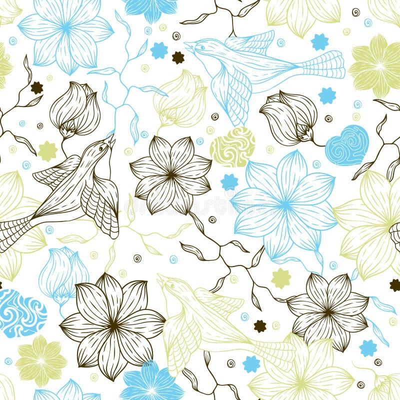 Retro naadloos patroon met bloemen en vogels vector illustratie