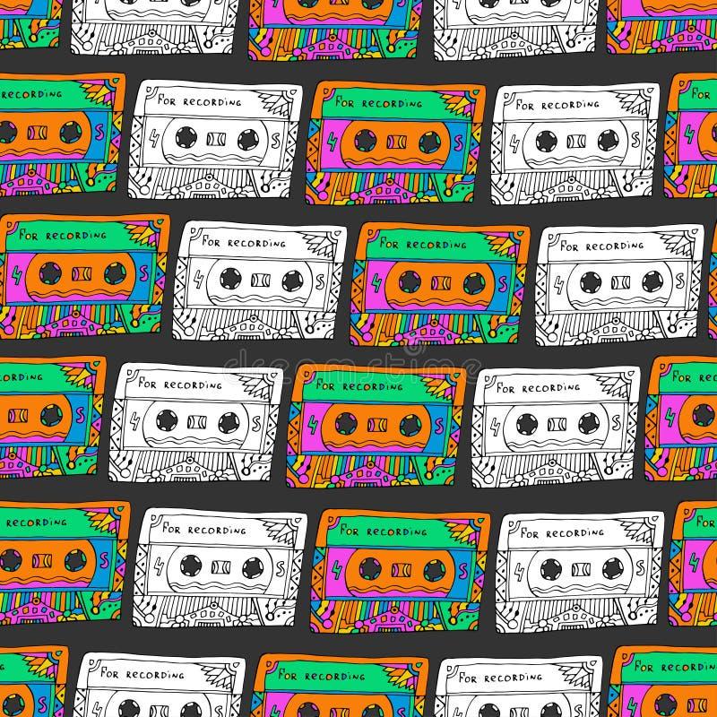 Retro naadloos patroon met cassettes De stijl van de Hipsterpret Krabbel muzikale achtergrond voor het verpakken, stof, textiel vector illustratie