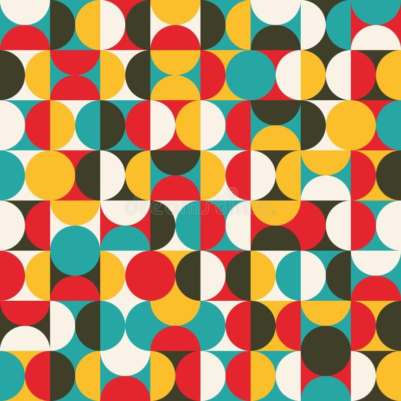 Retro naadloos patroon met cirkels. stock afbeelding