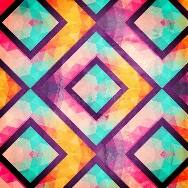 Retro naadloos patroon met vierkanten, hand getrokken achtergrond, mozaïek royalty-vrije illustratie