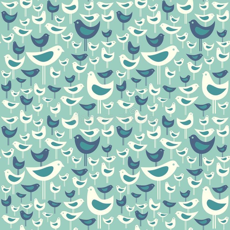 Retro naadloos patroon van leuke midden van de eeuw moderne vogels stock illustratie