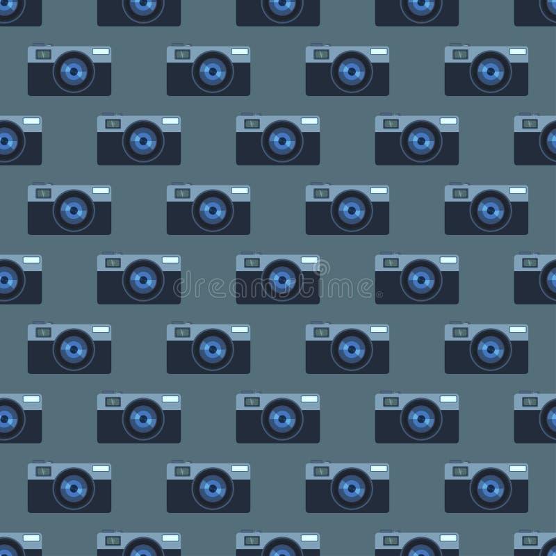 Retro naadloze het patroon vectorillustratie van de fotocamera royalty-vrije illustratie