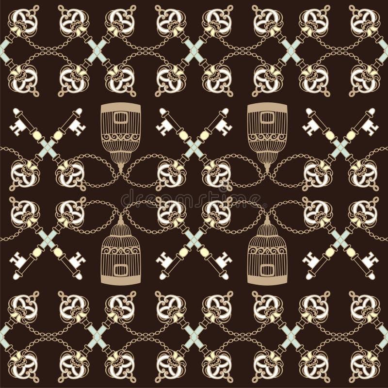 Retro naadloze patroon uitstekende sleutels, birdcage en keten De Barokke stijl van de manierstof, Sjofele elegant, boho royalty-vrije illustratie