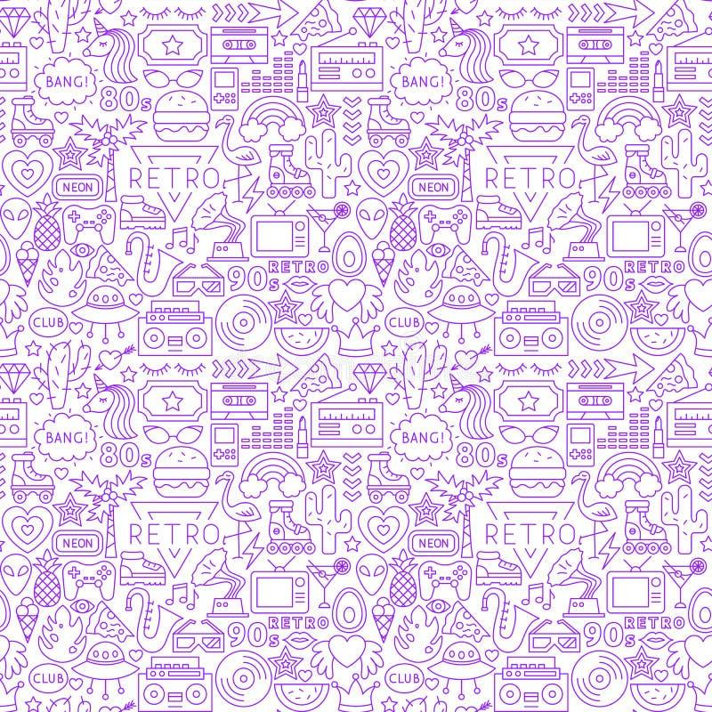 Retro Naadloze Patroon van de Manierlijn vector illustratie