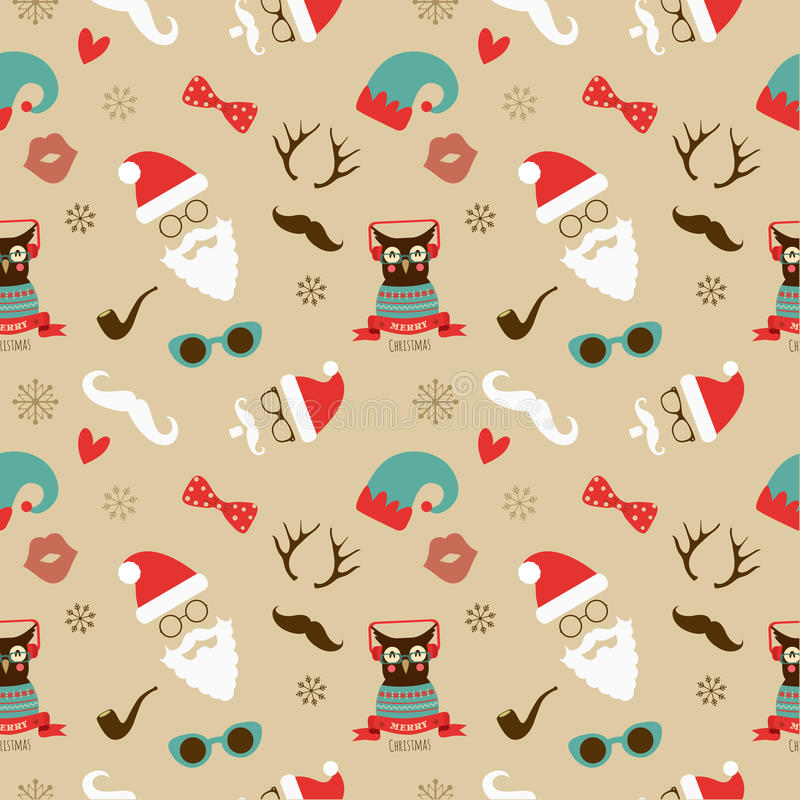 Retro Naadloze Patroon van Kerstmishipster stock illustratie