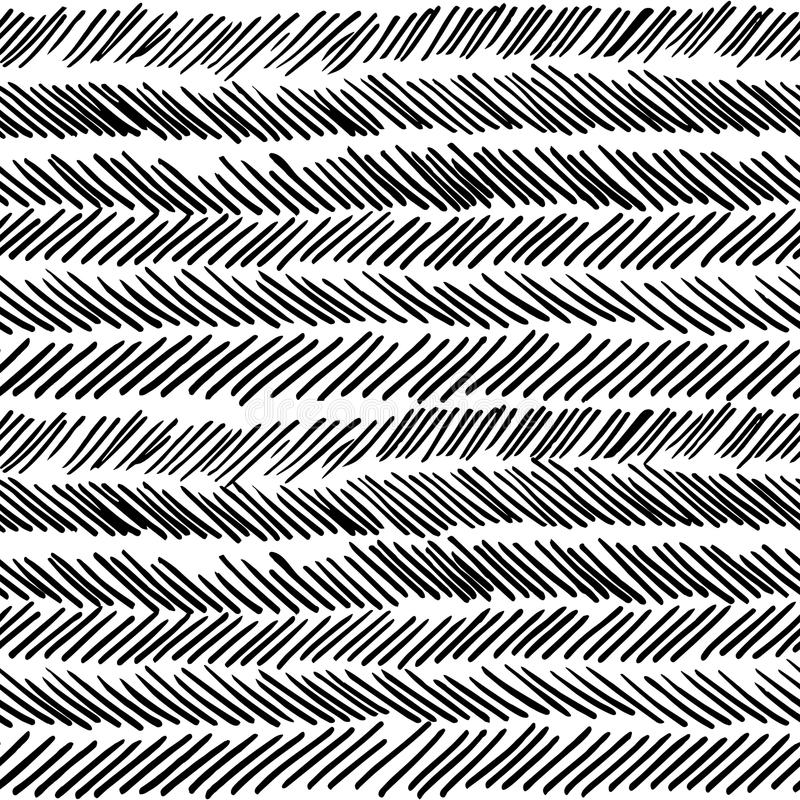 Retro naadloze patroon van streep het zwart-witte boho vector illustratie