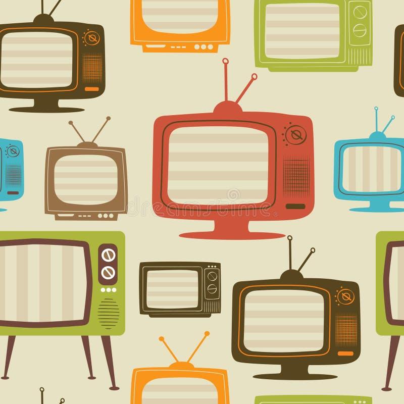 Retro naadloze patroon van TV. Vector illustratie. stock illustratie