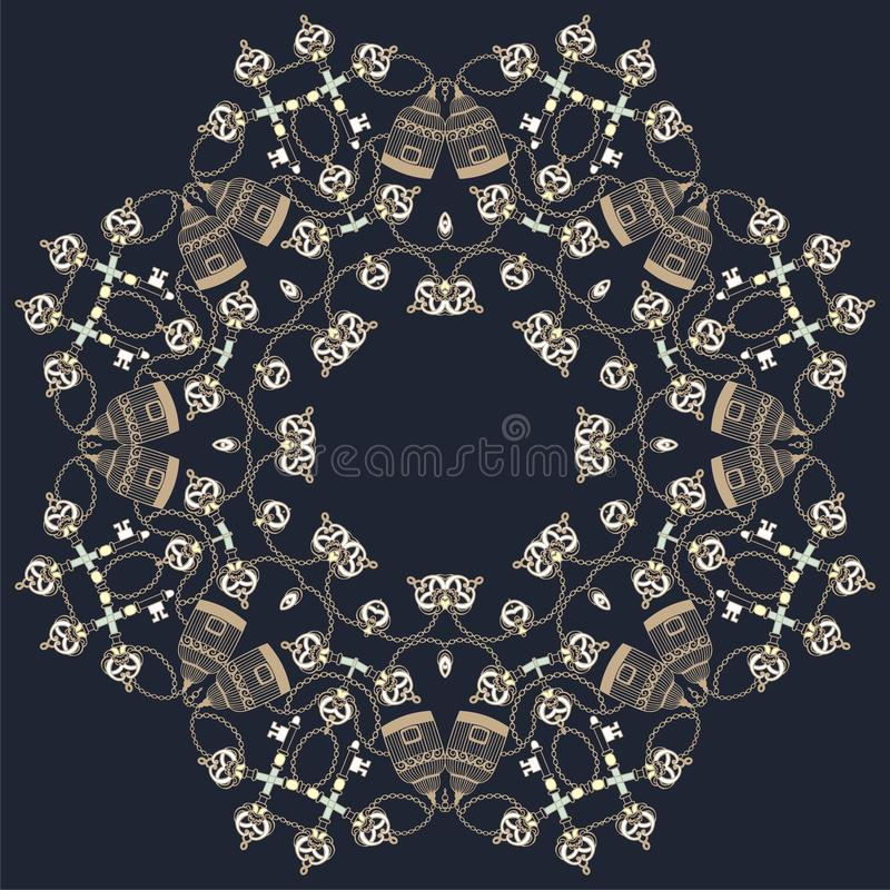 Retro naadloze sleutels, birdcage en de keten van het kaderpatroon uitstekende De Barokke stijl van de manierstof, Sjofele elegan vector illustratie