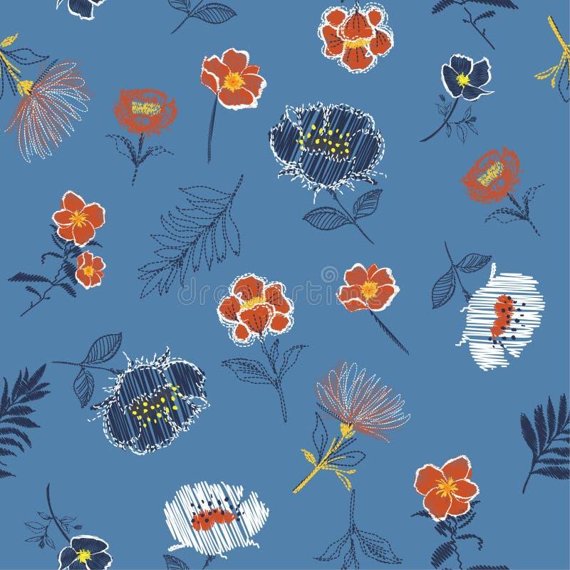 Retro Naadloze tendens van het patroon Vectorborduurwerk bloemen met branc royalty-vrije illustratie