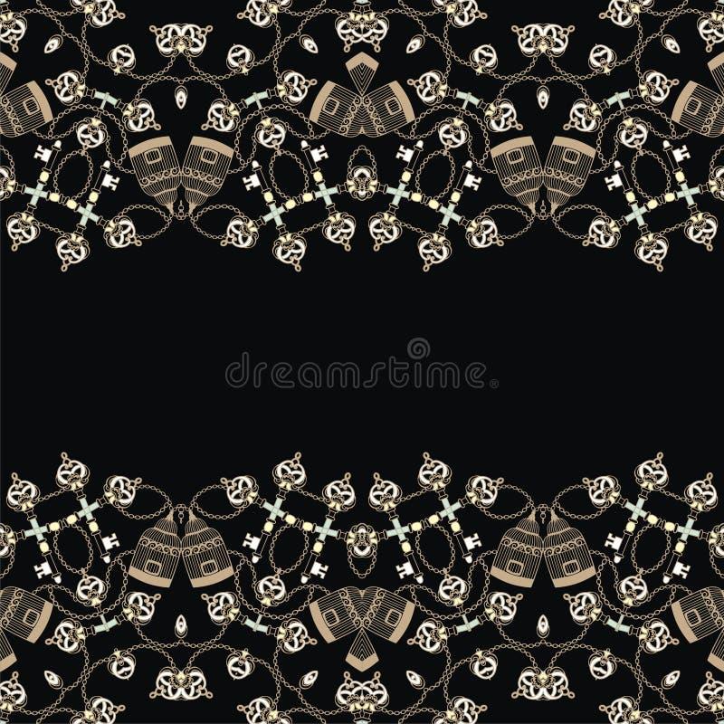 Retro- nahtlose Musterweinleseschlüssel, -Birdcage und -kette Modegewebe in einer Marineart lizenzfreie abbildung