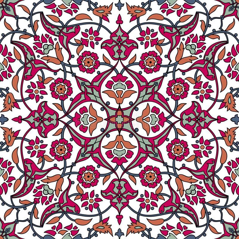 Retro- nahtlose Zusammenfassung der stilisierten Tapete der Blumen orientalischen vektor abbildung