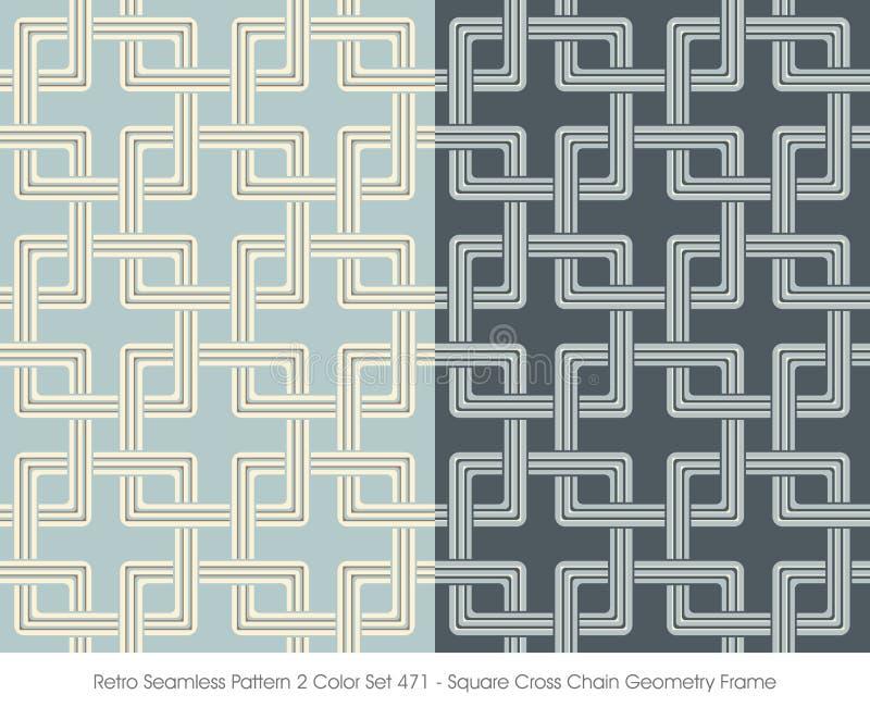Retro- Nahtloser Quadrat-Kreuz-Ketten-Geometrie-Rahmen Des Muster-2 ...