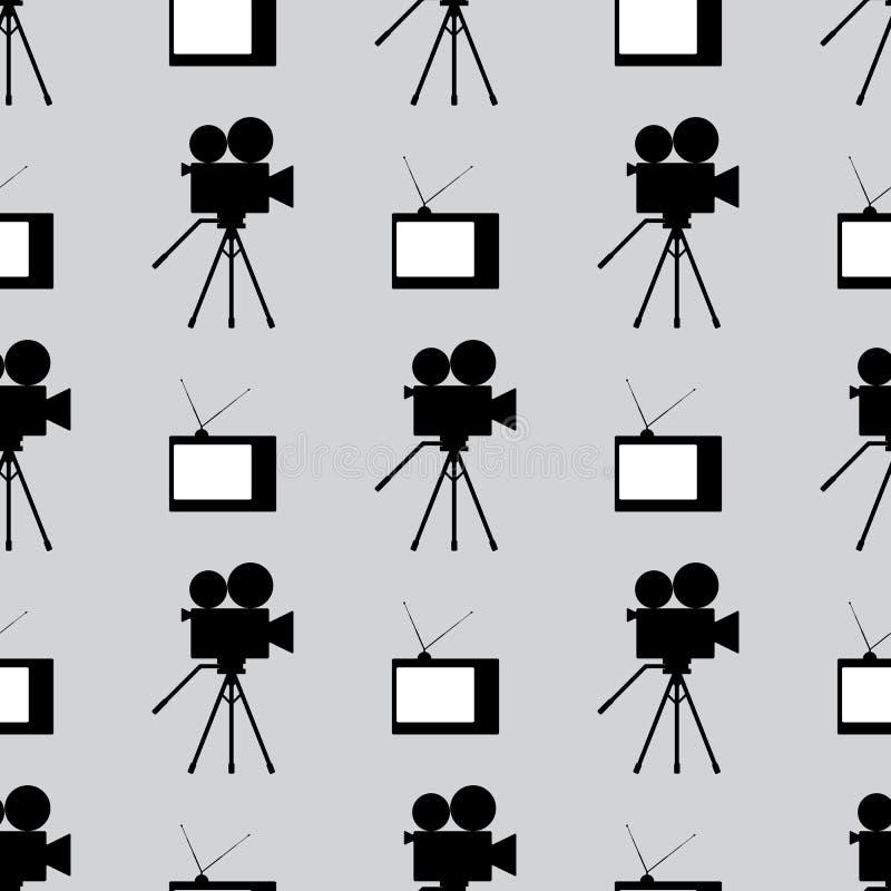 Retro- nahtloses Muster der Filmindustrie Sich wiederholende Weinlese Fernsehen und Kamerarecorder Nahtloses Muster Schwarz, wei? stock abbildung