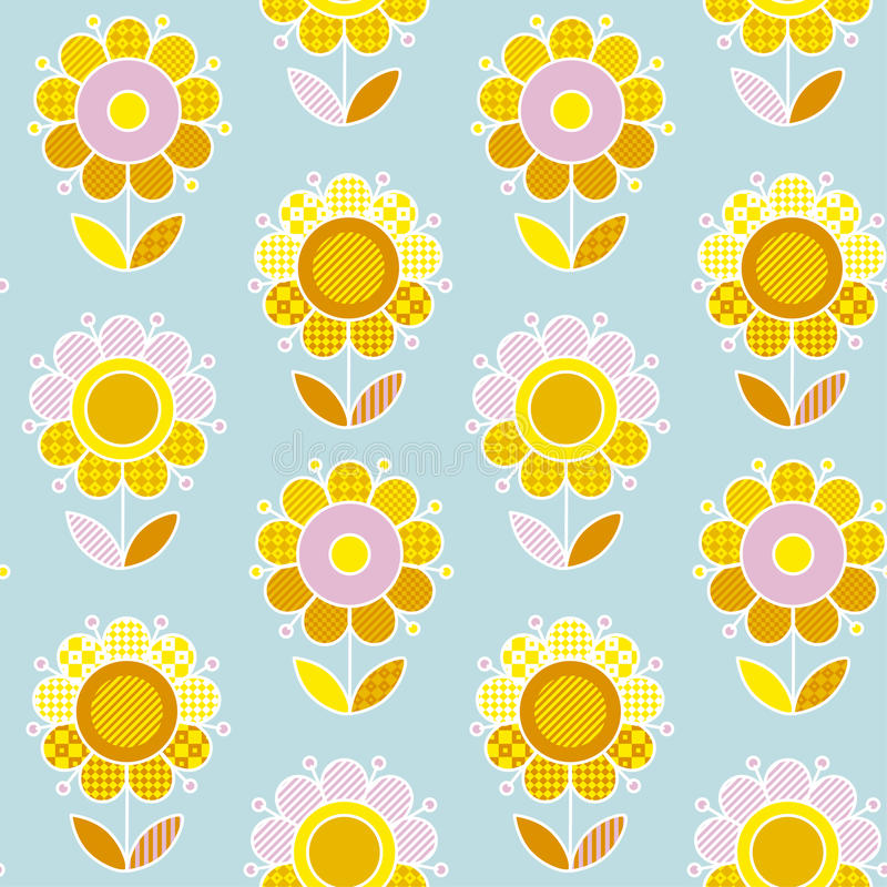 Retro naive Flower summer color seamless vector pattern vector illustration