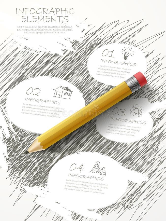 Retro nakreślenie styl infographic z ołówkowym elementem ilustracji
