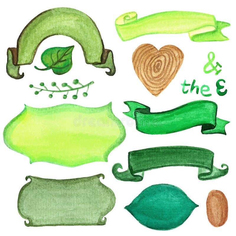 Retro nastri ed etichette dell'acquerello Insieme di verde illustrazione di stock