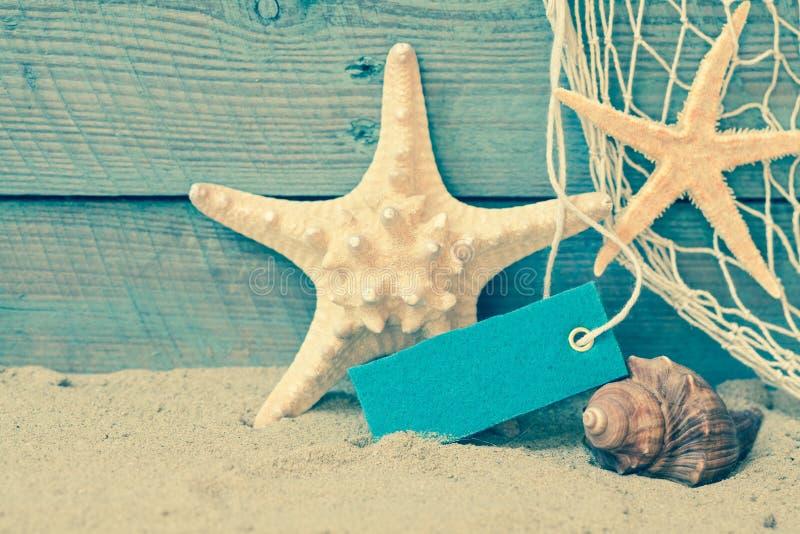 Retro nautical background with starfish stock photo