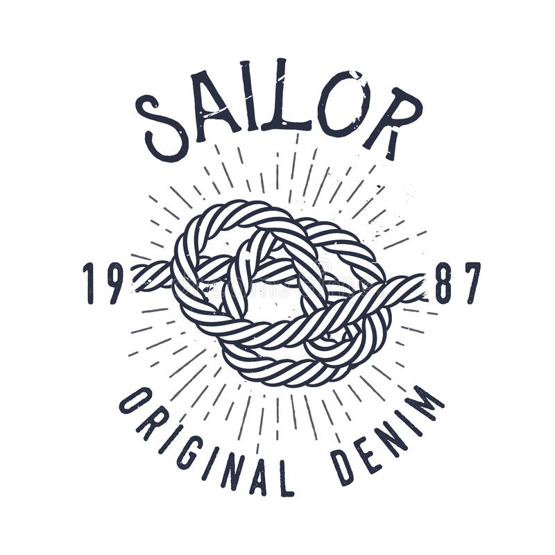 Retro nautical label with knot, sunburst and lettering. Vector illustration. stock illustration