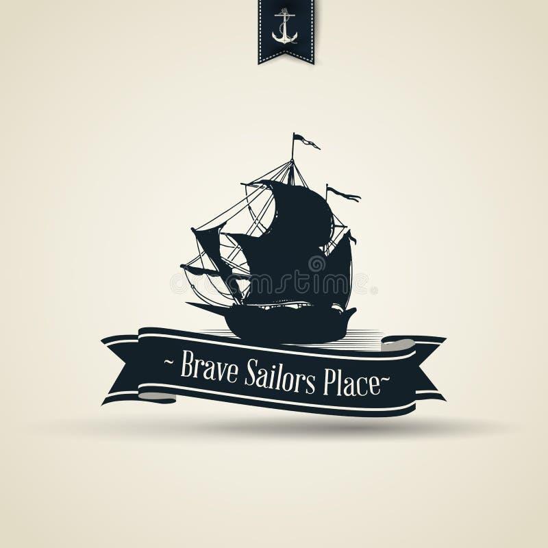 Retro nautiskt emblem för tappning med fartyget vektor illustrationer