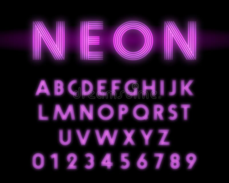 Retro neon alphabet font. Letters and numbers line design royalty free illustration
