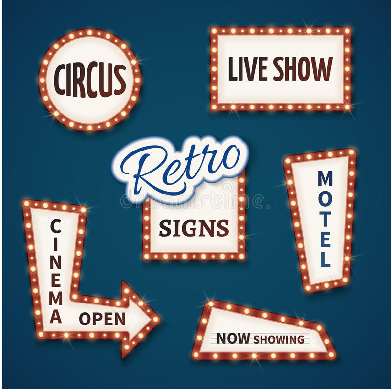 Retro neon bulb vector signs set. Cinema, live show, open, circus, now showing, motel banners stock illustration