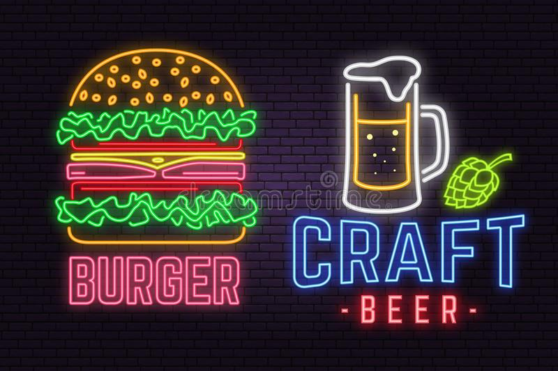 Retro neon burger and craft beer sign on brick wall background. Design for cafe, hotel,restaurant or motel. vector illustration