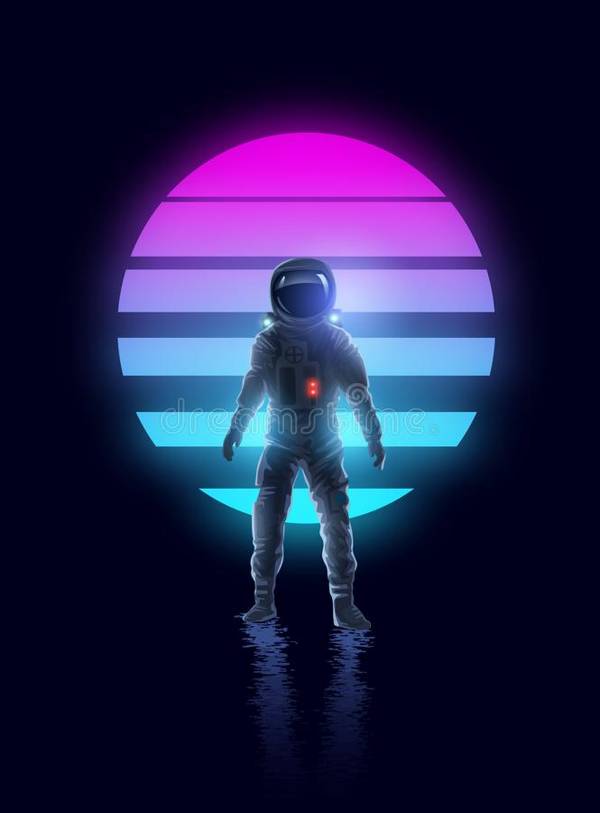Retro Neon Gloeiende Astronaut royalty-vrije illustratie
