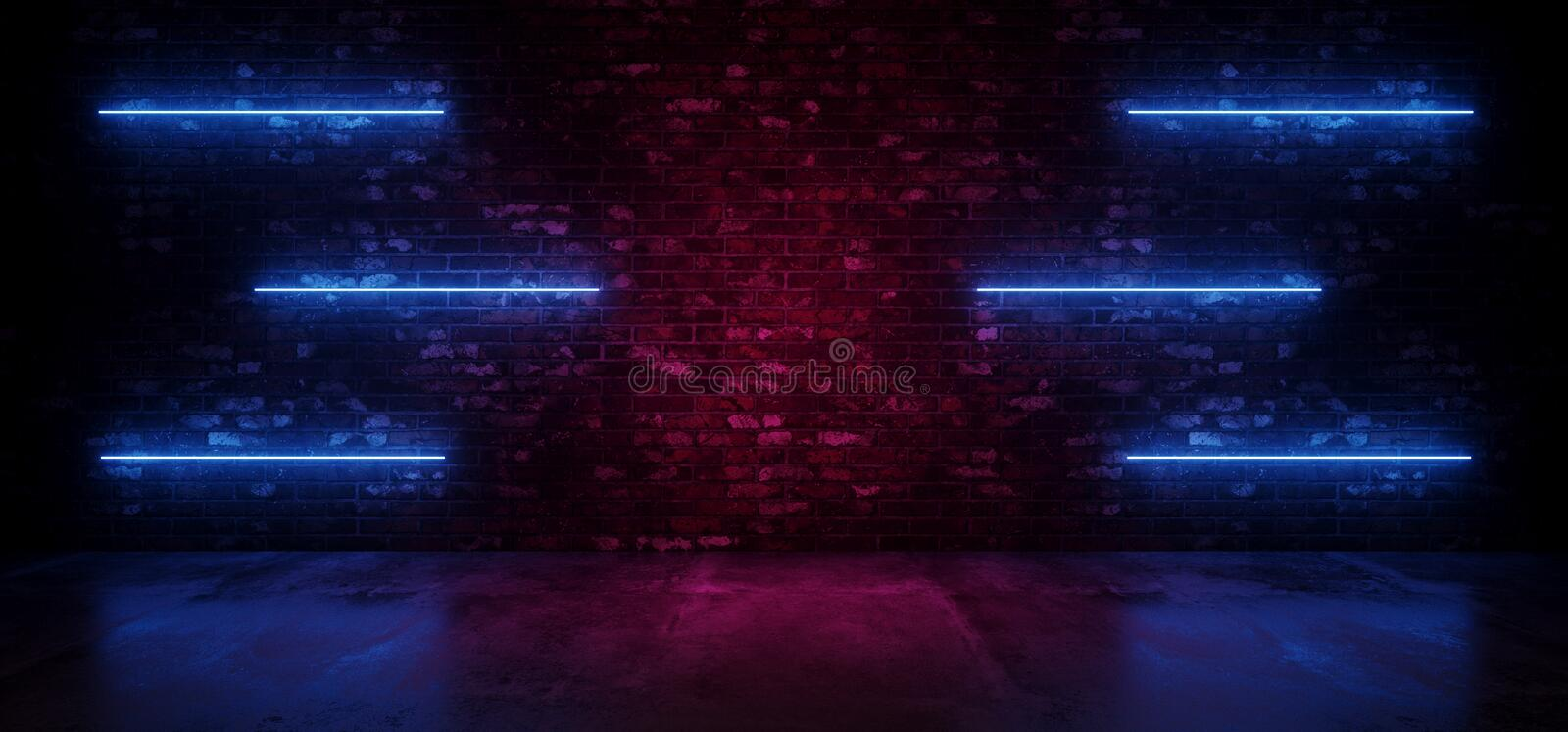 Retro Neon Sci Fi Modern Futuristic Neon Glowing Blue Line Lights On Grunge Brick Purple Glowing Wall Concrete Reflection Floor. Dark Room Empty .3D Rendering royalty free illustration