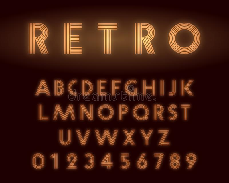 Retro neonalfabetstilsort Bokst?ver och nummerlinje design royaltyfri illustrationer