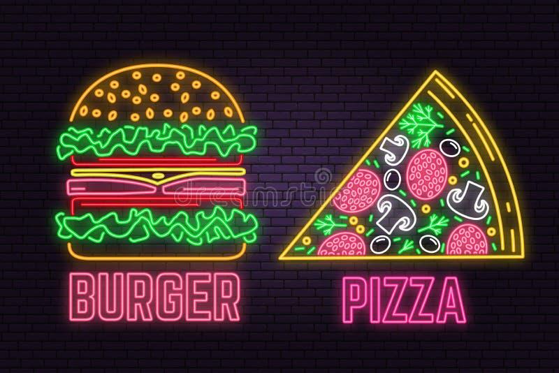 Retro neonhamburger en pizzateken op bakstenen muurachtergrond Ontwerp voor snel voedselkoffie stock illustratie