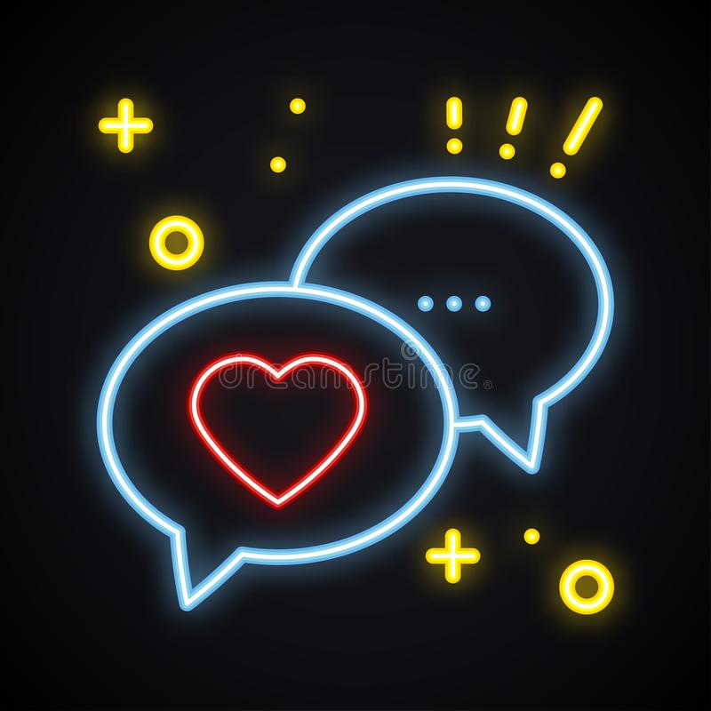 Retro neonmeddelandetecken Ljus anförandebubbla med hjärta Ljus konversationpratstunddialog abstrakt vektor för valentin för symb stock illustrationer